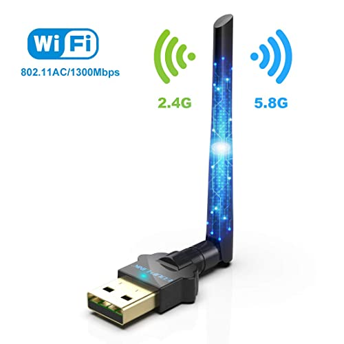 WiFi Adapter USB Wireless Adapter AC1300M Dual Band WiFi Dongle 2 4G/5G AC  External Antenna Network Card for Desktop,Laptop, Windows XP,Windows
