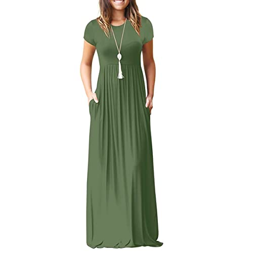 f2c66d641 AUSELILY Women Short Sleeve Loose Plain Casual Long Maxi Dresses with  Pockets