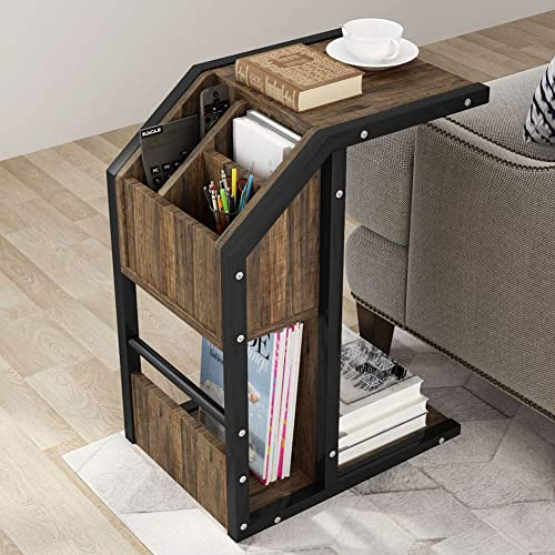 Tribesigns Sofa Side Table Modern C Table Snack End Table With Storage For Coffee Laptop Tablet Couch Bed And Side Table With Metal Frame For Living Room Bedroom Buy Products Online