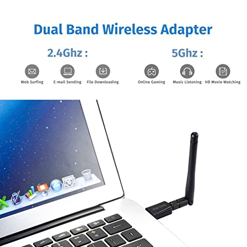 Buy Meross Wireless USB WiFi Adapter, 600M Dual Band (2 4G/150Mbps+